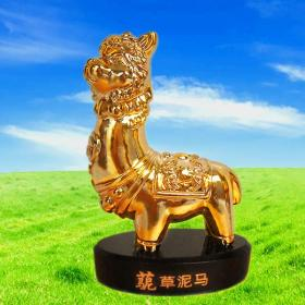 羊驼草泥马玩偶工艺品小摆件(镀金版)厂家库存低于成本价售