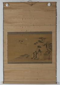 【日本回流】原装旧裱 如川 水墨画作品《赏鹤图》一幅(纸本立轴,画心约1.6平尺,钤印:如川之章)HXTX193375