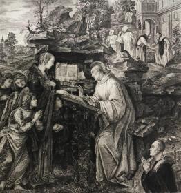 19世纪晚期蚀刻铜版画《圣母出现在圣伯纳德面前》——意大利文艺复兴时期画家菲利皮诺·利比(Filippino Lippi,1457-1504年)作品 雕刻师Peter Halm 37.7*28.1厘米