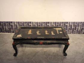 創匯時期 鑲嵌玉石小茶桌,人物刻畫栩栩如生,全品無修