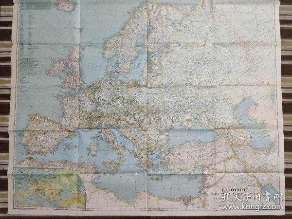 National Geographic国家地理杂志地图系列之1938年4月 Europe and The Mediterranean 欧洲和地中海地图