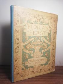 1895年  Floras Feast A Masque of Flowers  全本书口未裁  著名插图大师  WALTER CRANE 彩图  25.4X19.2CM