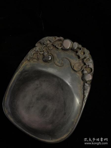 端硯,硯鏤空雕刻葫蘆寓意和諧美滿