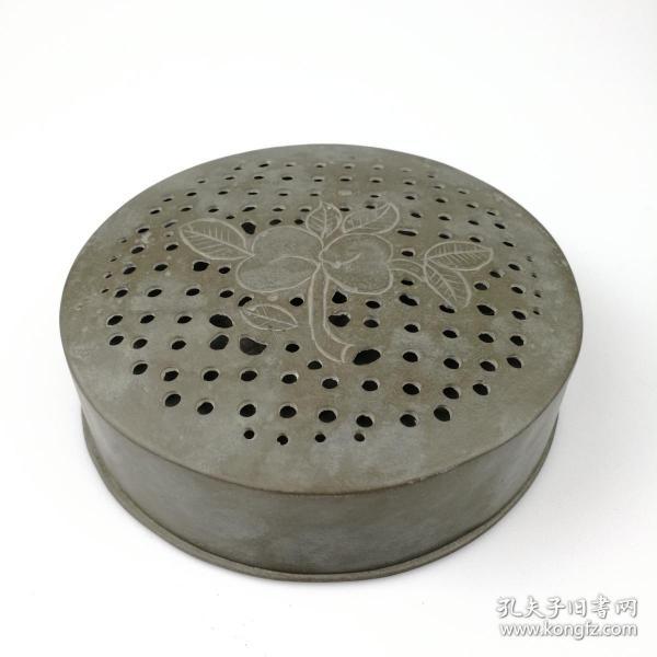 清代老錫器古玩錫盒公順長記款點銅朝珠盒古董錫制香盒懷舊老物件