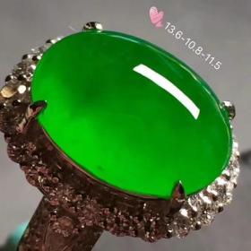 特價★59888元★18K金鉆豪鑲高冰正陽綠翡翠女戒指EOJ