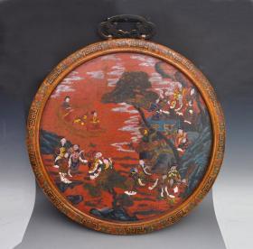 漆器精品手繪群仙祝壽圖掛屏