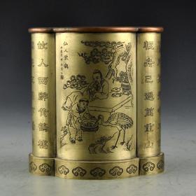 白銅刻畫仙人飲鶴筆筒