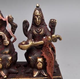 黃銅精品朱砂象鼻財神擺件收藏