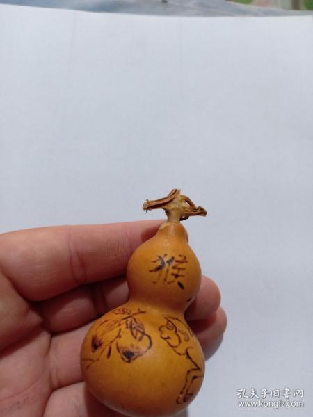 (店)葫蘆手工燙畫工藝 生肖猴 壽桃葫蘆,一生平安,7*3.5cm