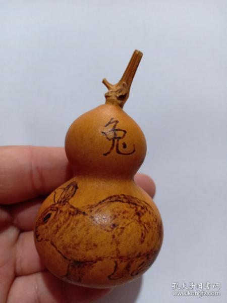 (店)葫蘆手工燙畫工藝 生肖兔葫蘆,一生平安,8*4.5cm