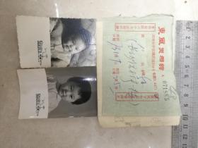 文革老照片;天津东风照相馆儿童照2张带像袋