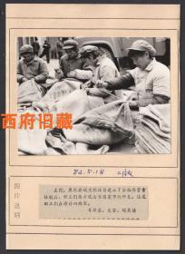 新闻老照片原版底稿,阿坝藏族羌族自治州黑水县城关粮站,修补旧麻袋老照片