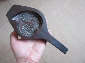 老模具民国手工雕刻精美老包浆菊花寿字图糕点面食品月饼印模收藏