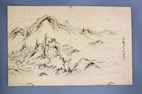 日本江户时代末期儒学家、书法家 志静道人 设色山水册页一折