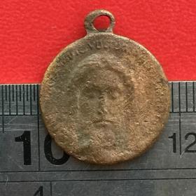 S504旧铜意大利罗马耶稣头像背面太阳放光芒图案宗教吉祥铜牌铜章