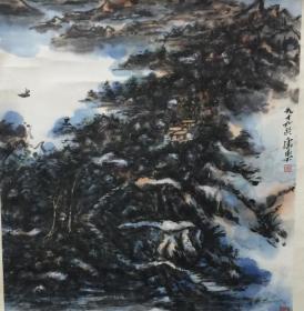 王康乐《群山泊舟图》