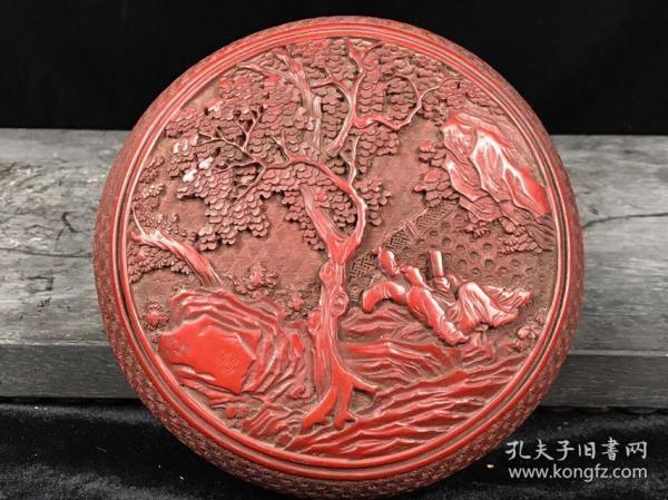 剔紅漆器首飾盒高9cm    直徑17.5cm