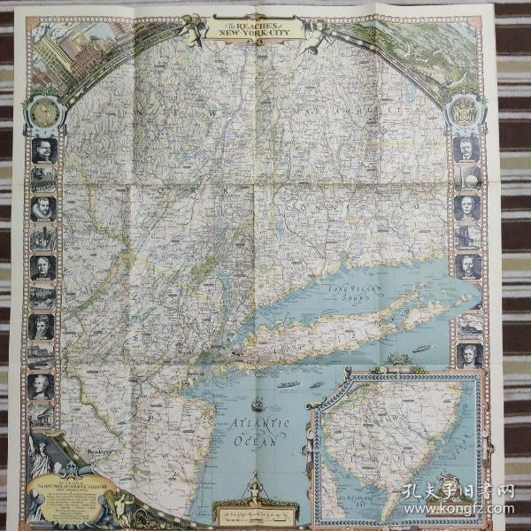 National Geographic国家地理杂志地图系列之1939年4月 The Reaches of New York City 纽约地图