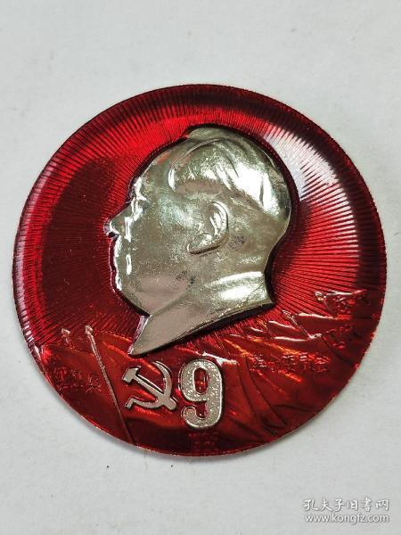 毛主席像章。黨旗一個九字。其他旗幟字:紅衛兵、革命委員會、工代、農代。