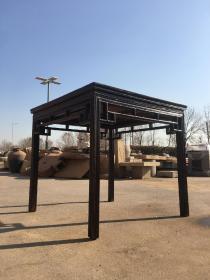 榆木方桌,做工精湛,打凹腿,美觀!皮殼老辣,93x93厘米,高87厘米