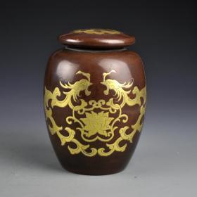 紫銅鎏金雙龍戲珠罐