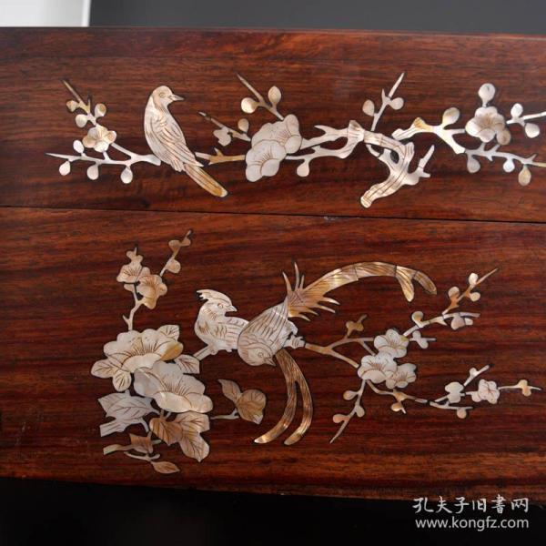 花梨木鑲貝精品花開富貴箱