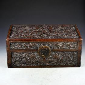花梨木雙龍戲珠珍寶箱