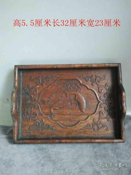 清代傳世花梨木雕魚紋木托盤