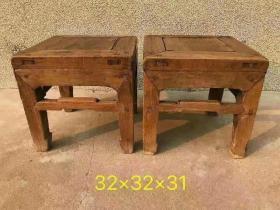 清代四平馬蹄足榆木小方凳一對!包漿渾厚,精致完美,保存完好!