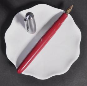 少見80年代英產古董老牌PLATIGNUM紅色旋帽14K金M尖鋼筆