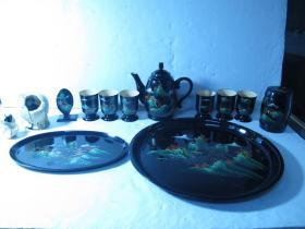 八十年代彩繪山水風景漆壺漆盤等一組十三件