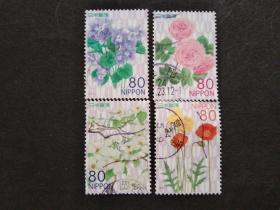 日本邮票(植物/花卉):2012 Seasonal Flowers 时令花 4枚