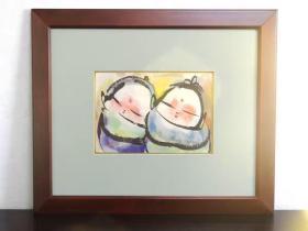 【真作】成田泰明 墨彩画《二人の子》