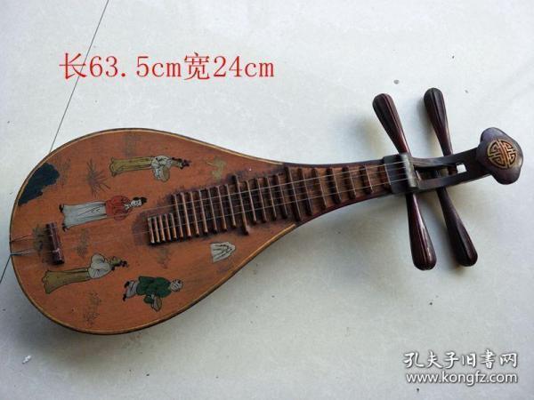 清代传世老漆器人物琵琶