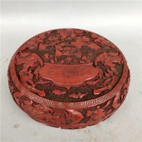 舊藏清代剔紅漆器盒招財進寶首飾盒3YWX  680克