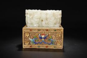 舊藏銀鎏金花絲包玉獸鈕印章