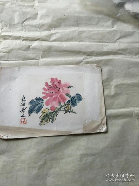 齊白石畫卉水印件