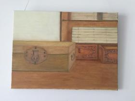 原创油画《古籍与书箱》