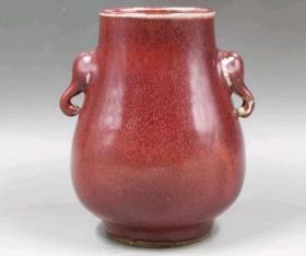 清代祭红釉象耳尊5991