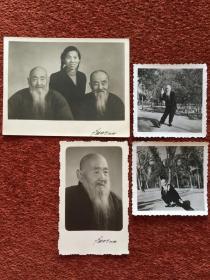 """《""""美髯公""""打太极等照片》1963-1965年,四张合售,反面""""美髯公""""毛笔题记、题诗"""
