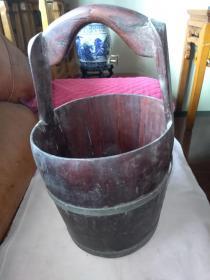 80年代手工做实木铜箍 拎水桶