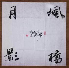 手书真迹书法:陕西省书协会员王宝健《枫桥月影》四尺斗方