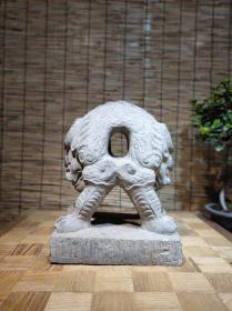 清代青石雕刻练功石 尺寸:长28宽20高36厘米,雕刻兽头,皮克老辣,摸损自然,寓意独特,完整包老!