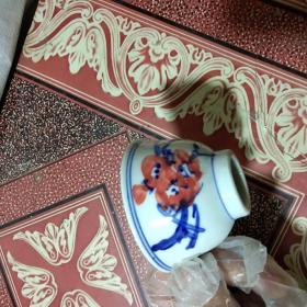 景德镇人民瓷厂手绘梅兰竹菊品杯酒杯茶杯.梅花