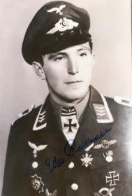 二战德国空军JG52王牌飞行员埃里希·哈特曼导师爱德蒙德·罗斯曼签名照