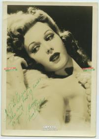 民国时期好莱坞性感女明星亲笔签名老照片,强烈泛银,17.8X12.6厘米