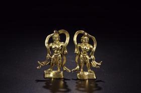 明以前:銅鎏金哼哈二將立像