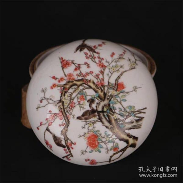 民國粉彩花鳥紋印泥盒  粉盒 胭脂盒