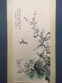 旧藏梅兰芳手绘中堂画花鸟画一幅