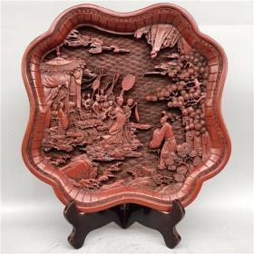 舊藏清代剔紅漆器賞盤擺件5YWX  2300克